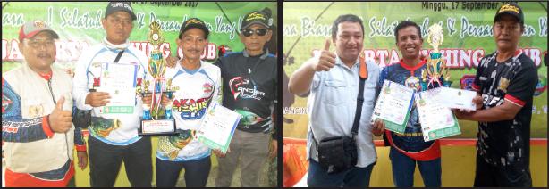 Juara Induk 2 dan 3 menerima hadiah uang, piala dan piagam